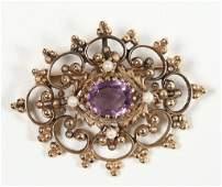 Art Nouveau Ladies Amethyst, Gold & Pearl Brooch
