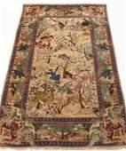 Fine Antique Persian Pictorial Silk Hunt Carpet