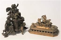 Two Antique Continental Bronze Figural Pieces