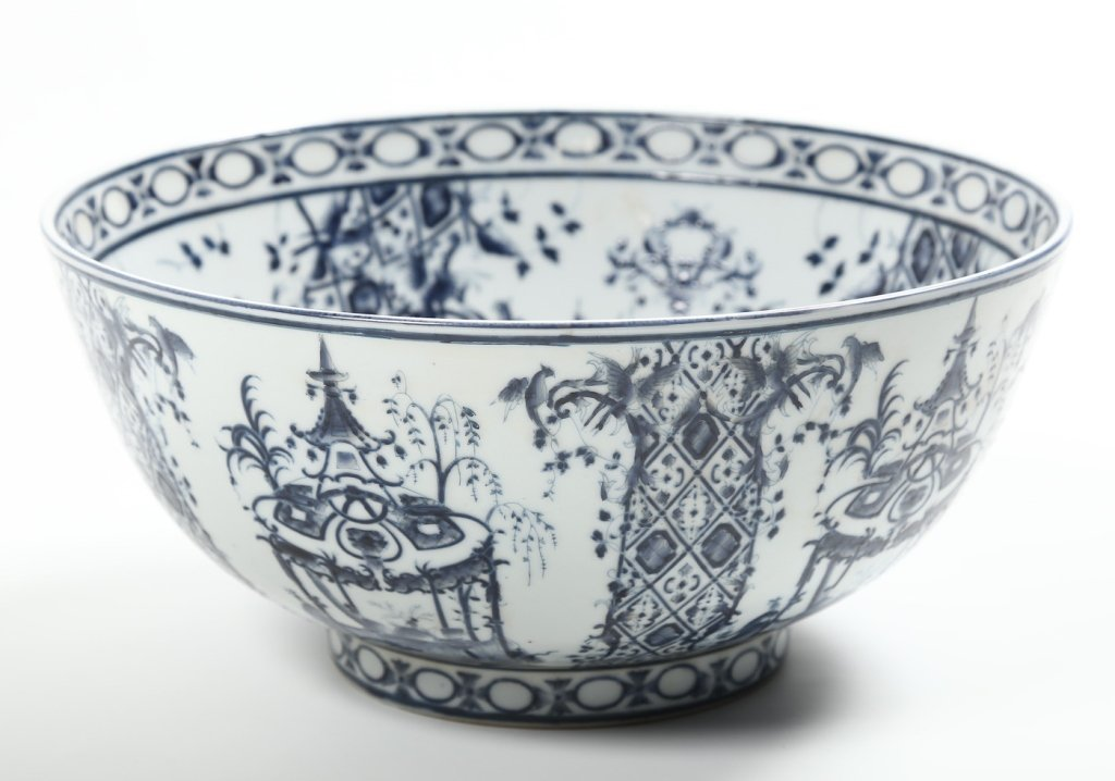 Antique Continental Porcelain Punch Bowl