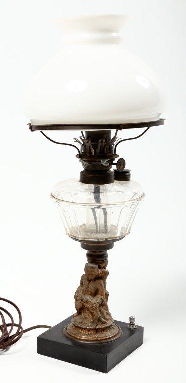 Antique Victorian Pressed Glass & Brass Oil Lamp