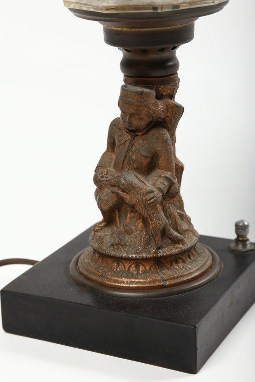 Antique Victorian Pressed Glass & Brass Oil Lamp - 2