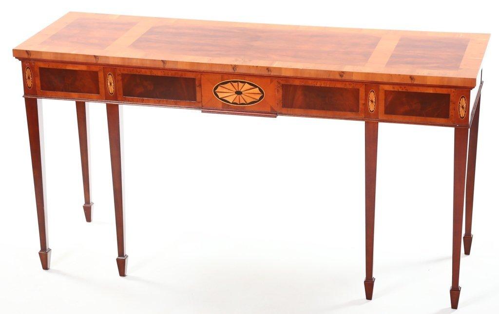 George III Style Mahogany & Yew Wood Console Table