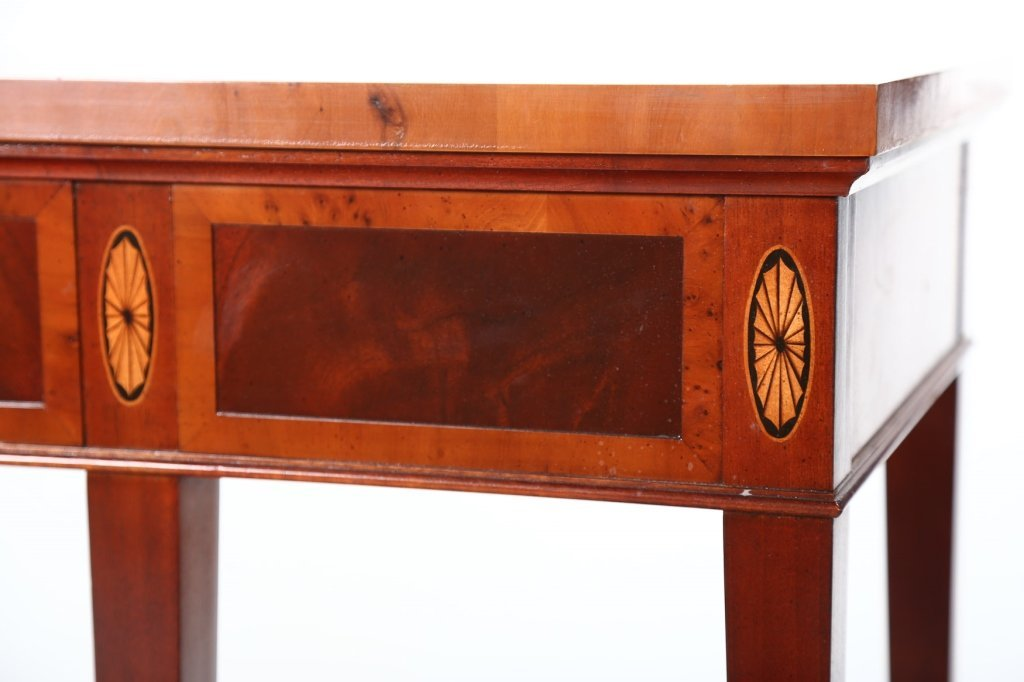 George III Style Mahogany & Yew Wood Console Table - 2