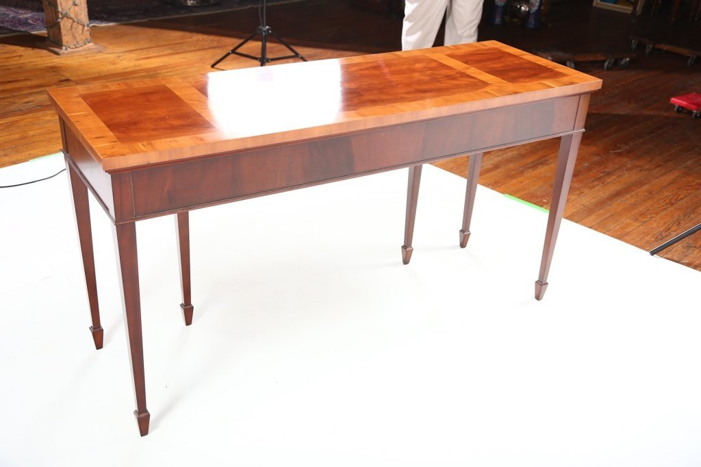 George III Style Mahogany & Yew Wood Console Table - 6