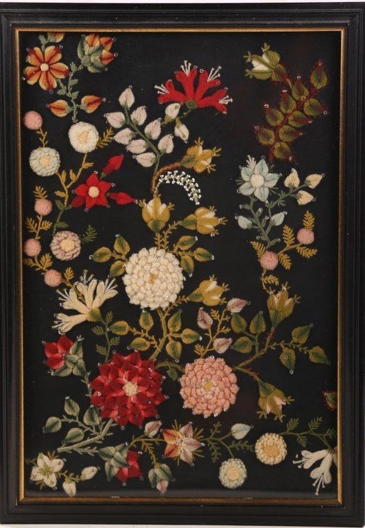 Stump Work Textile Floral Picture