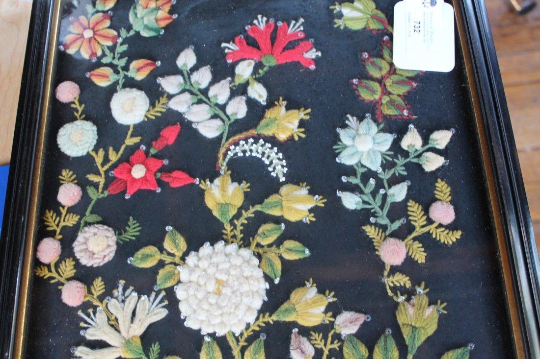 Stump Work Textile Floral Picture - 2