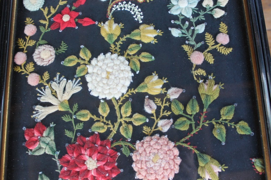Stump Work Textile Floral Picture - 3