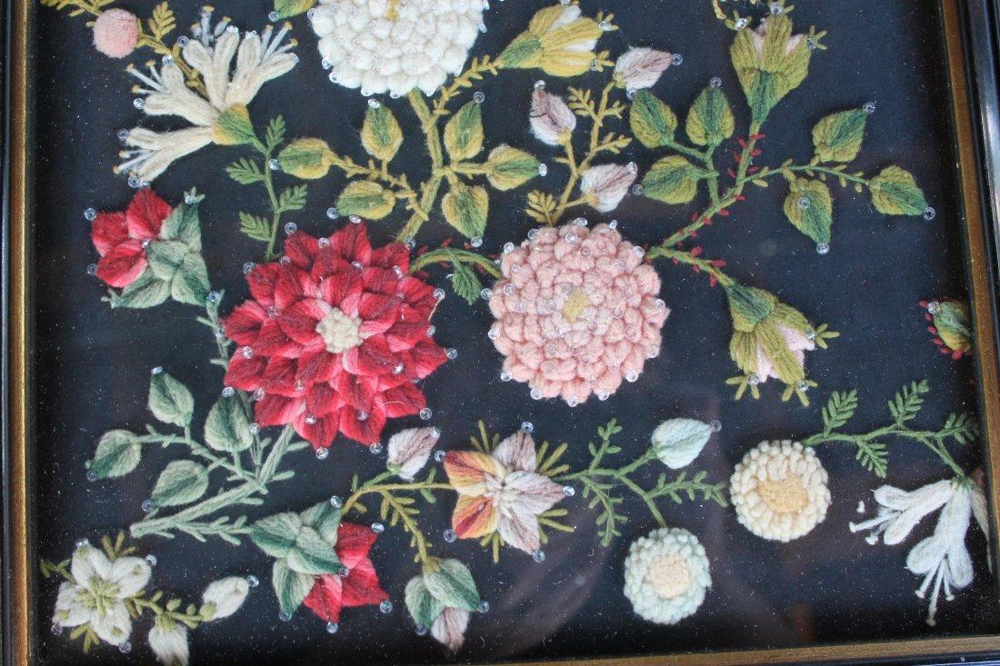 Stump Work Textile Floral Picture - 4