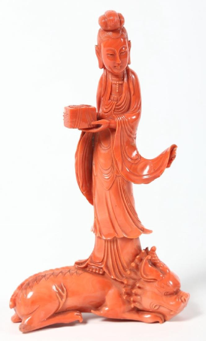 Exceptional Chinese Qing Carved Coral Kwan-yin