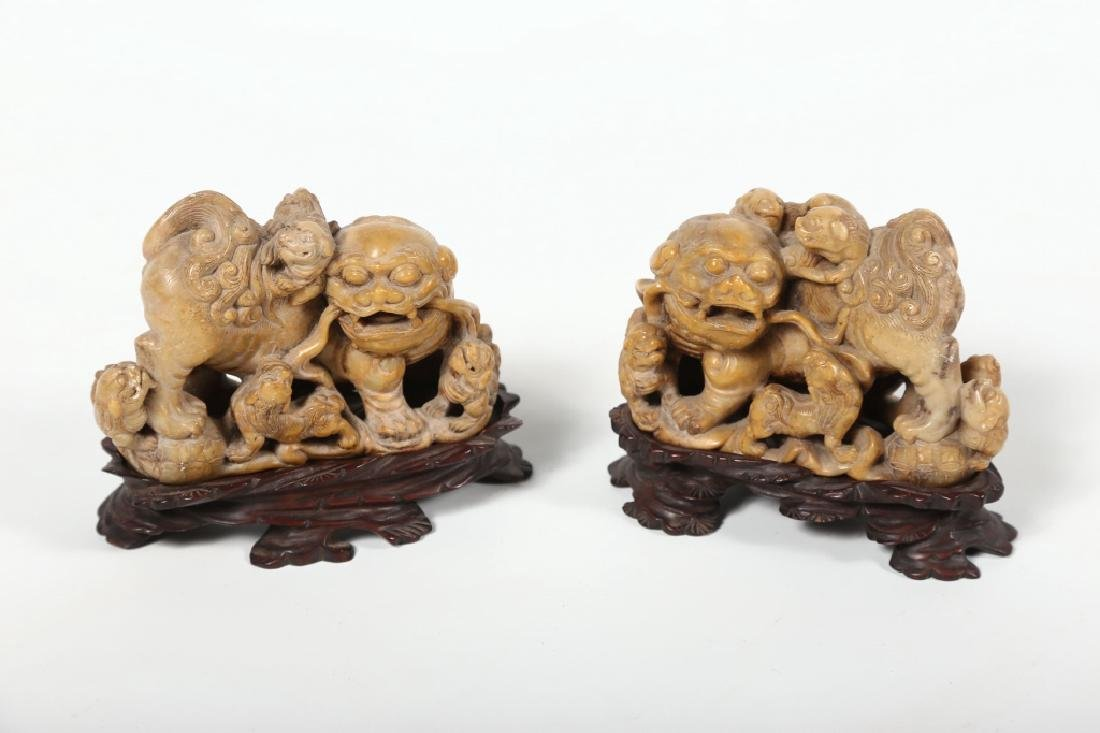 Good Pair Antique Chinese Carved Soapstone Figures