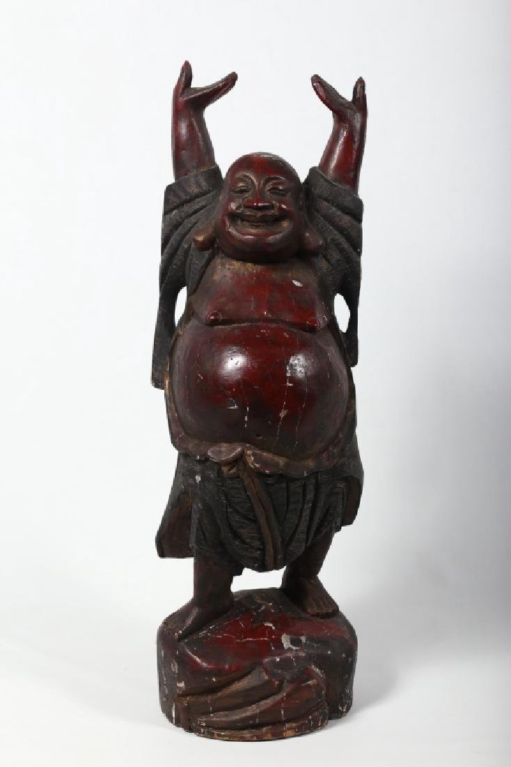 Antique Chinese Carved & Polychrome Happy Buddha