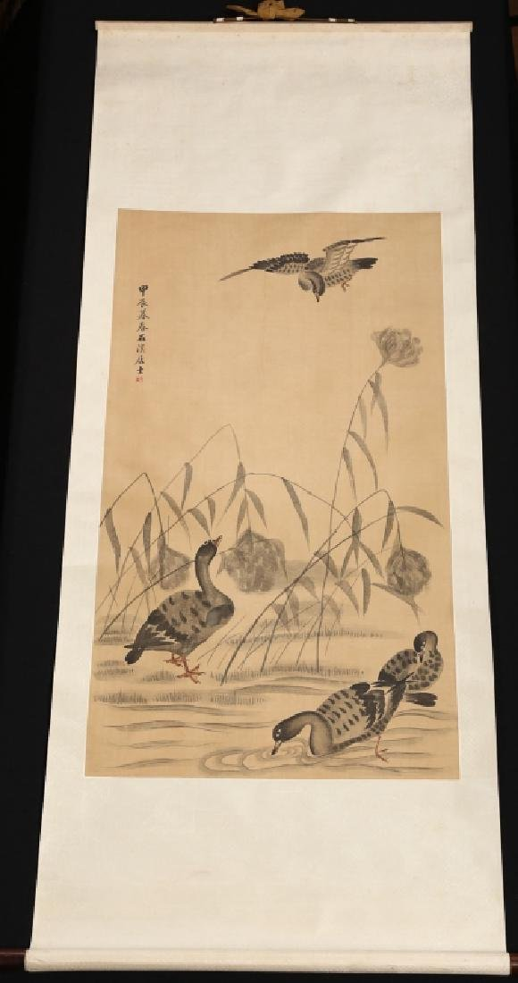 Very Fine Antique Chinese Watercolor Silk Scroll