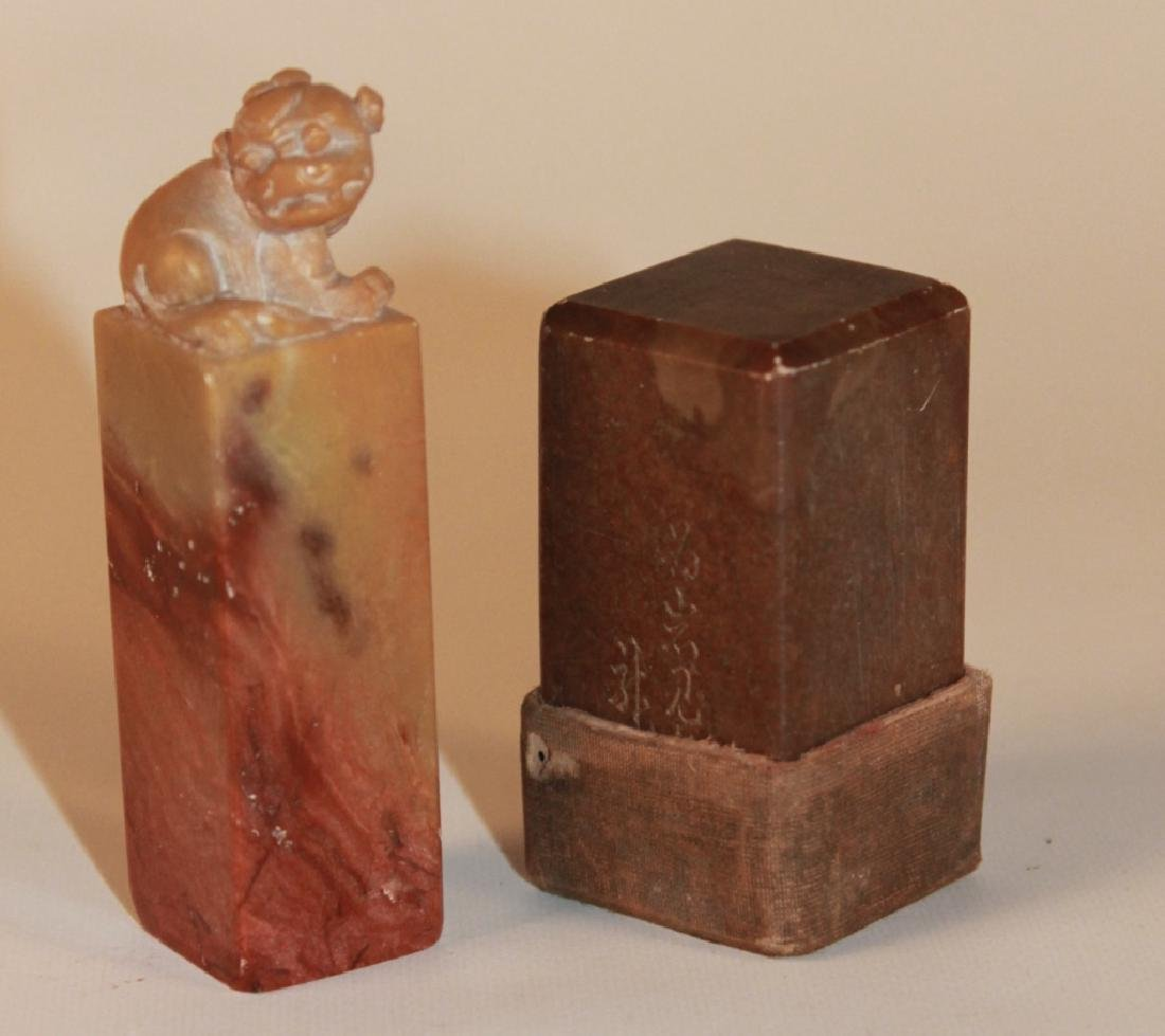 Two Antique Chinese Carved Soap Stone Wax Seals