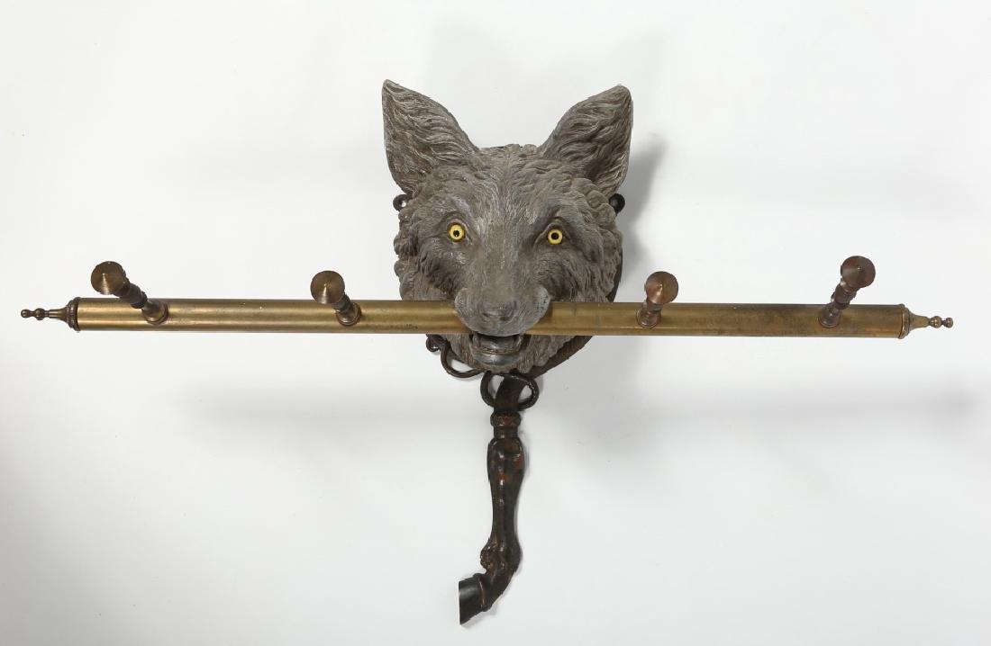 Exceptional British or American Fox Head Coat Rack