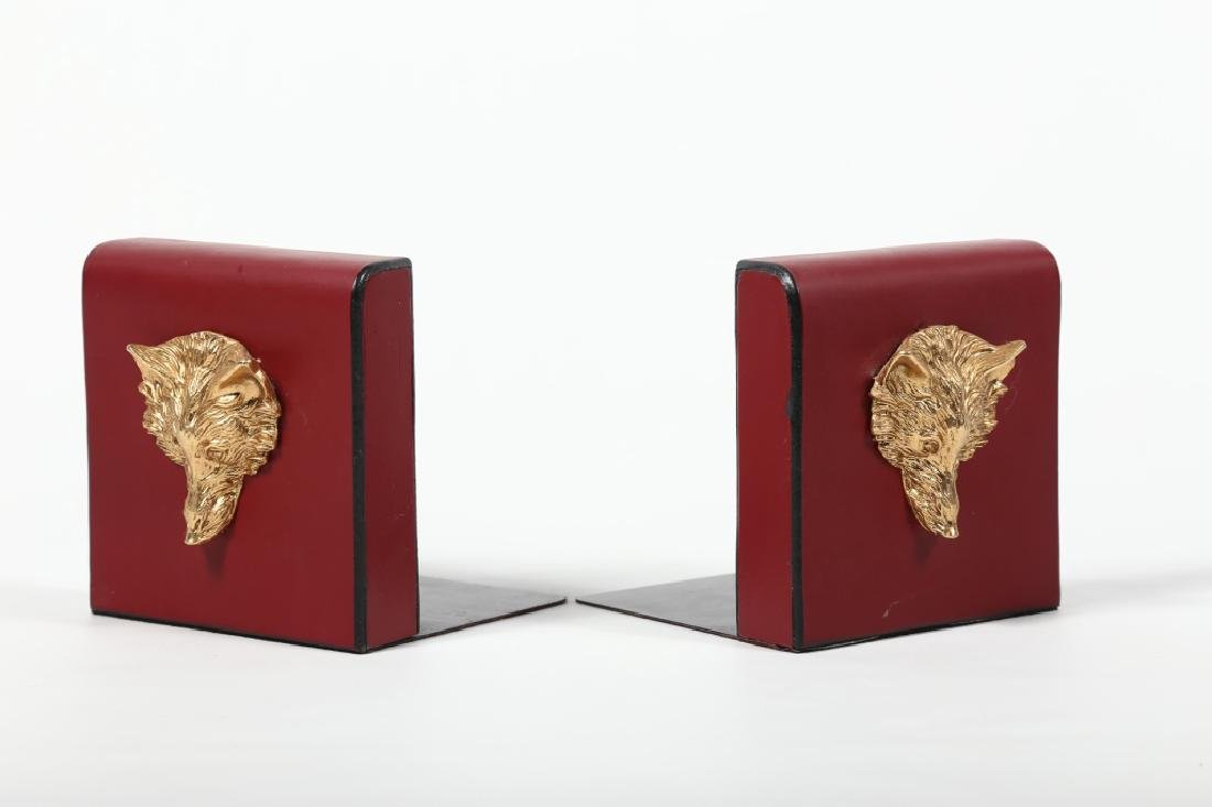 Charming Pair Fox Head Leather Bookends