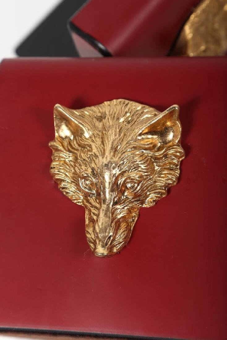 Charming Pair Fox Head Leather Bookends - 2