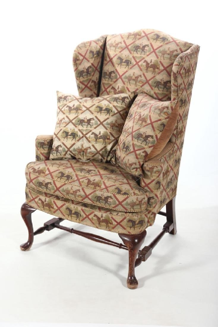 Fine Queen Anne Style Upholstered Wing Chair