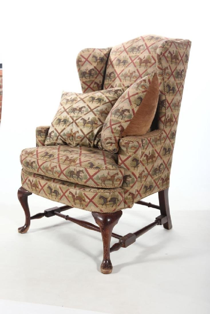 Fine Queen Anne Style Upholstered Wing Chair - 2
