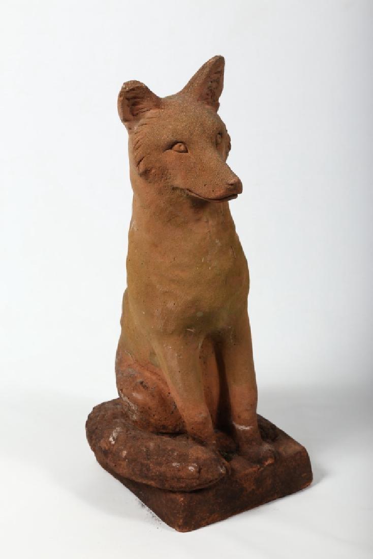Very Fine Antique Life Sized Terracotta Fox Figure