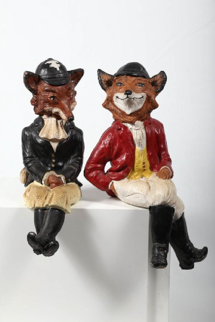 Pair Vintage Hand Painted Cast Stone Fox Figures