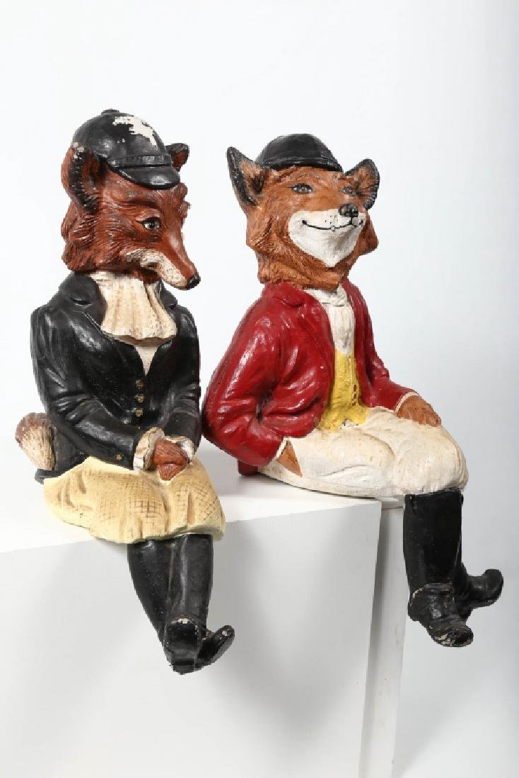 Pair Vintage Hand Painted Cast Stone Fox Figures - 2