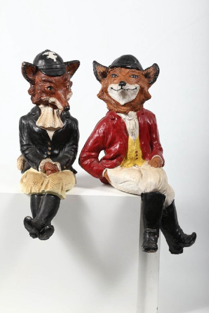Pair Vintage Hand Painted Cast Stone Fox Figures - 3