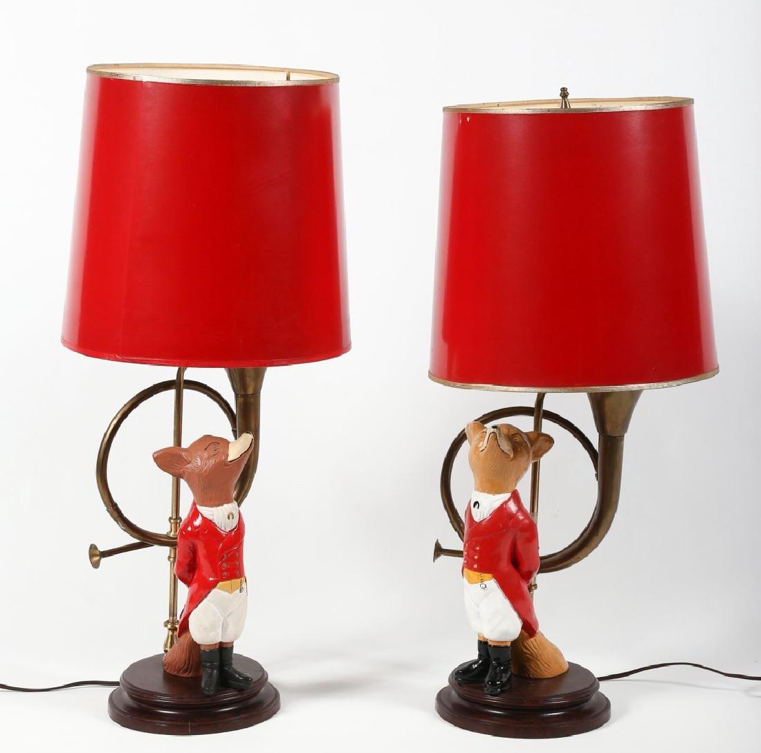 Striking Pair Figural Painted Metal Fox Hunt Lamps