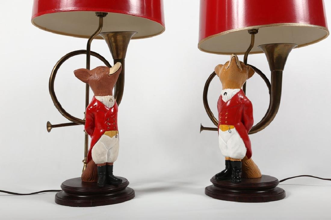 Striking Pair Figural Painted Metal Fox Hunt Lamps - 2