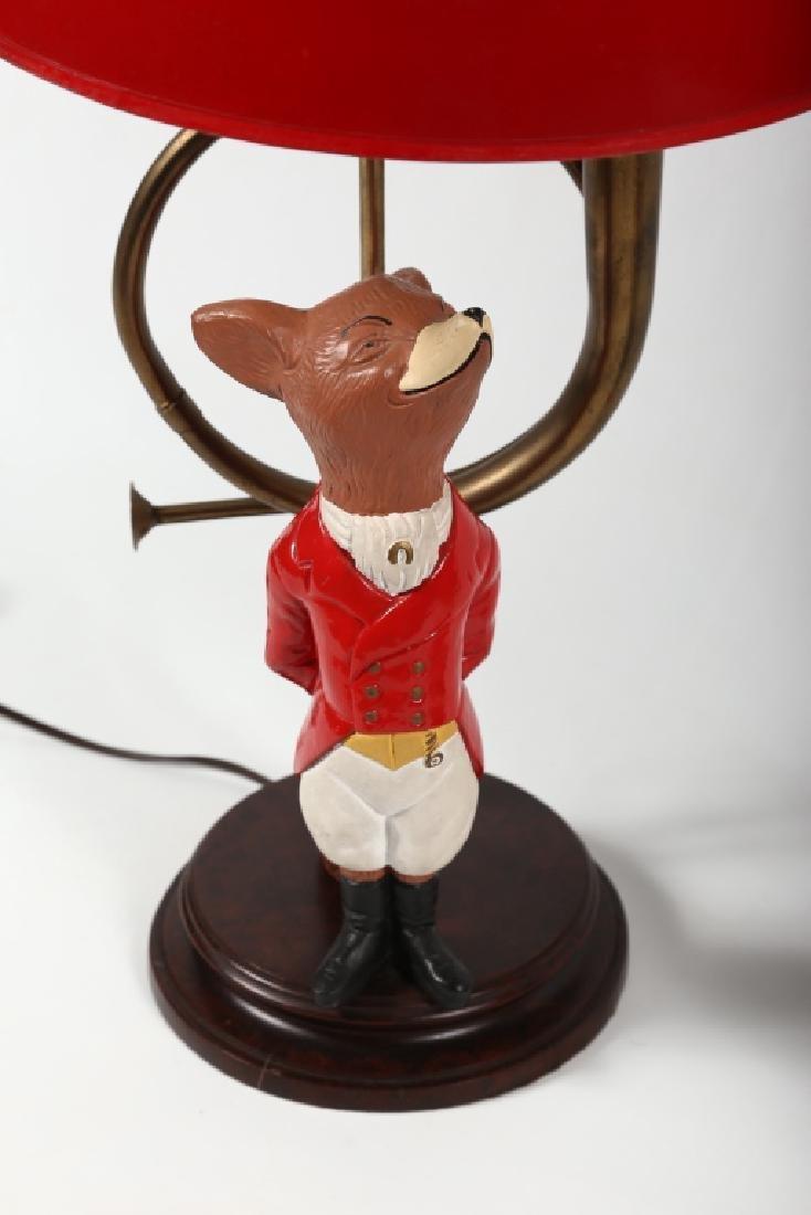 Striking Pair Figural Painted Metal Fox Hunt Lamps - 3