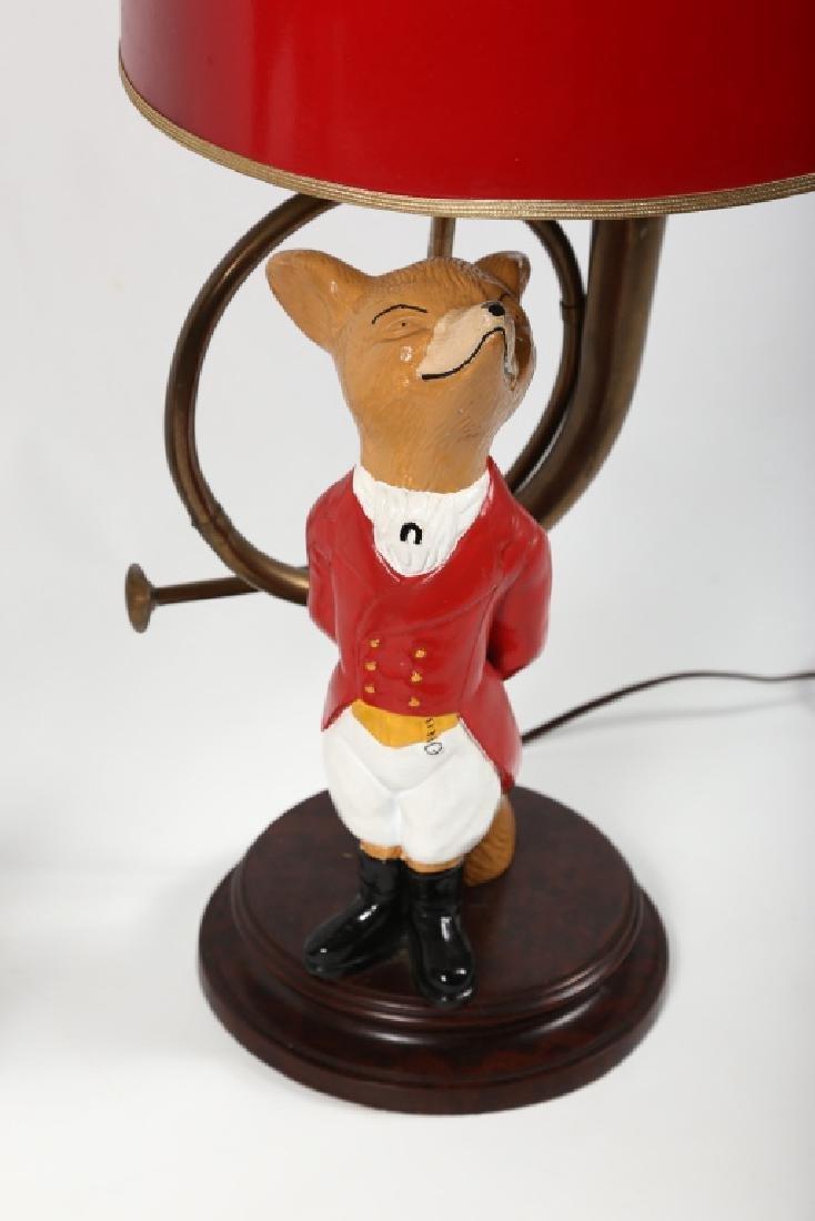 Striking Pair Figural Painted Metal Fox Hunt Lamps - 4