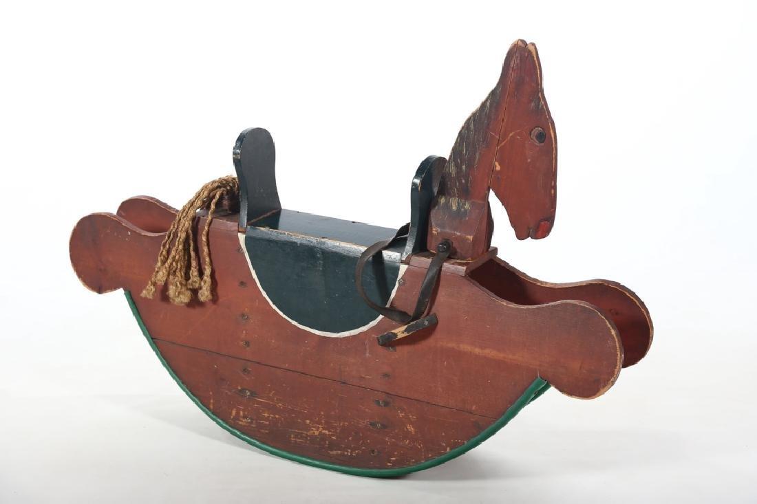 Vintage Folk Art Toy Rocking Horse