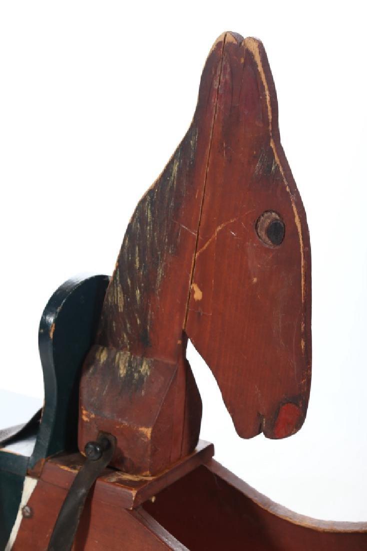 Vintage Folk Art Toy Rocking Horse - 2