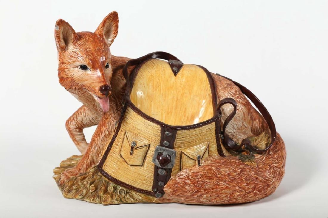 Fine Italian Life Sized Majolica Figural Fox