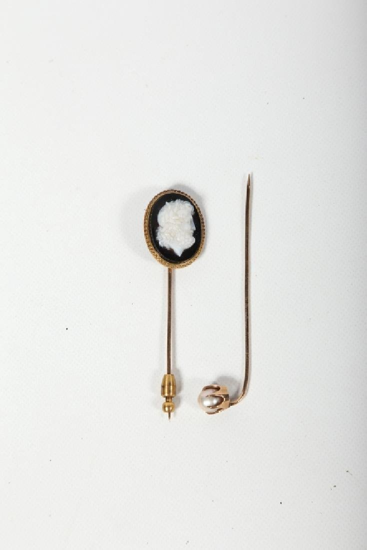 Two Antique Victorian Ladies Gold Pins