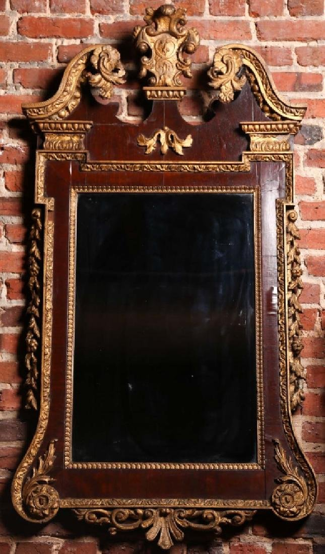 Fine Chippendale Carved Gilt Wood Looking Glass