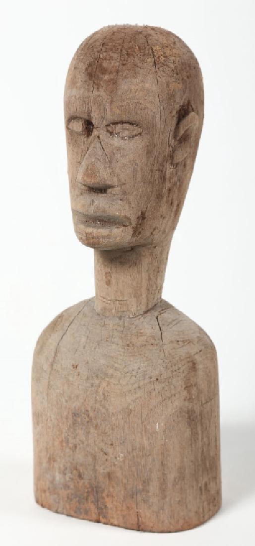 Antique American Folk Art Carved Wood Bust