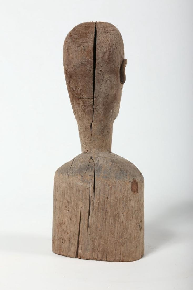 Antique American Folk Art Carved Wood Bust - 3