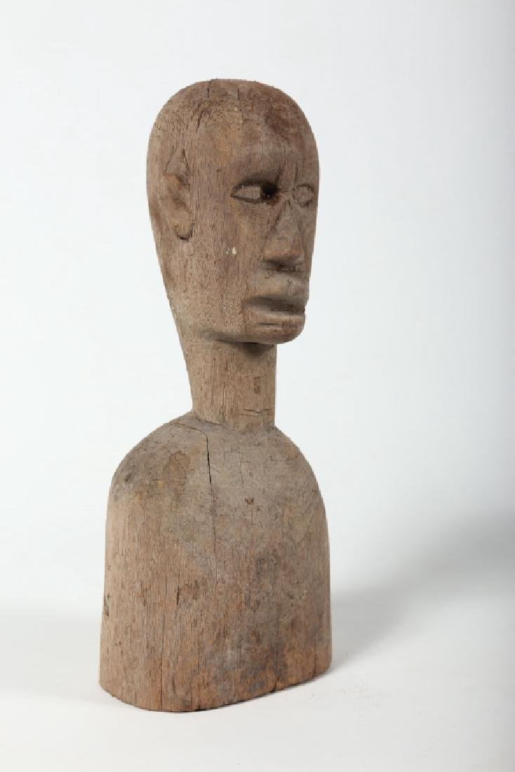 Antique American Folk Art Carved Wood Bust - 4
