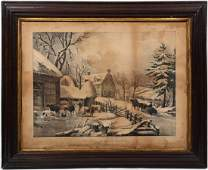 Antique Currier  Ives Hand Colored Print