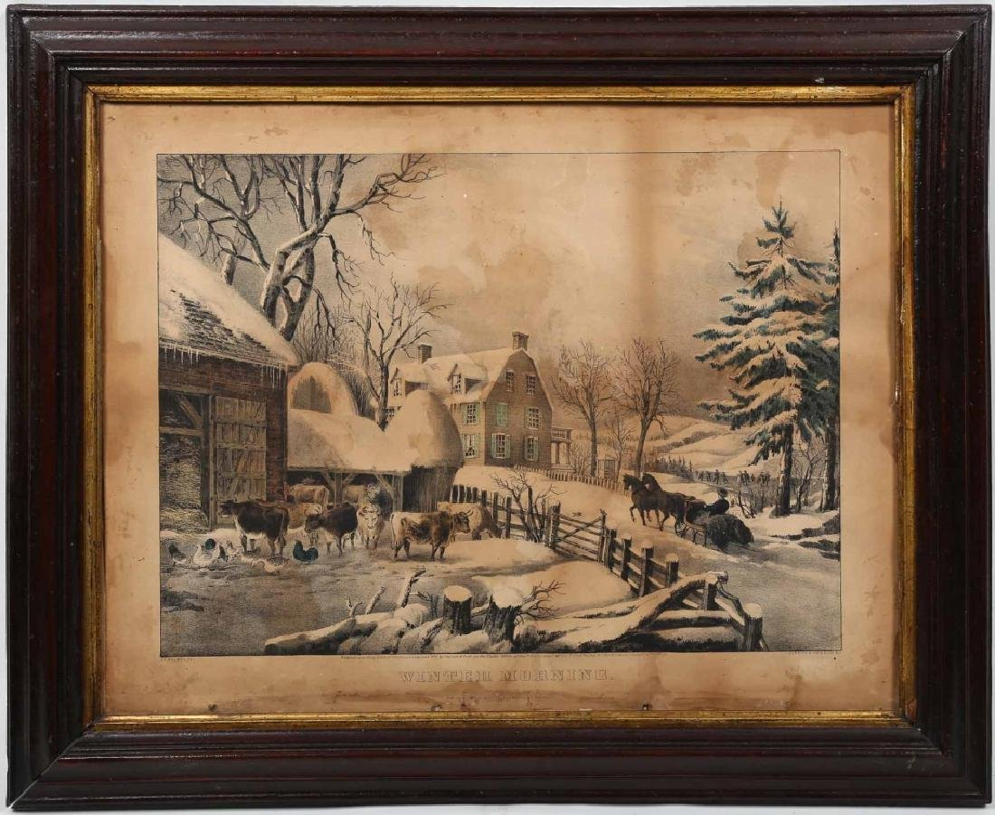 Antique Currier & Ives Hand Colored Print