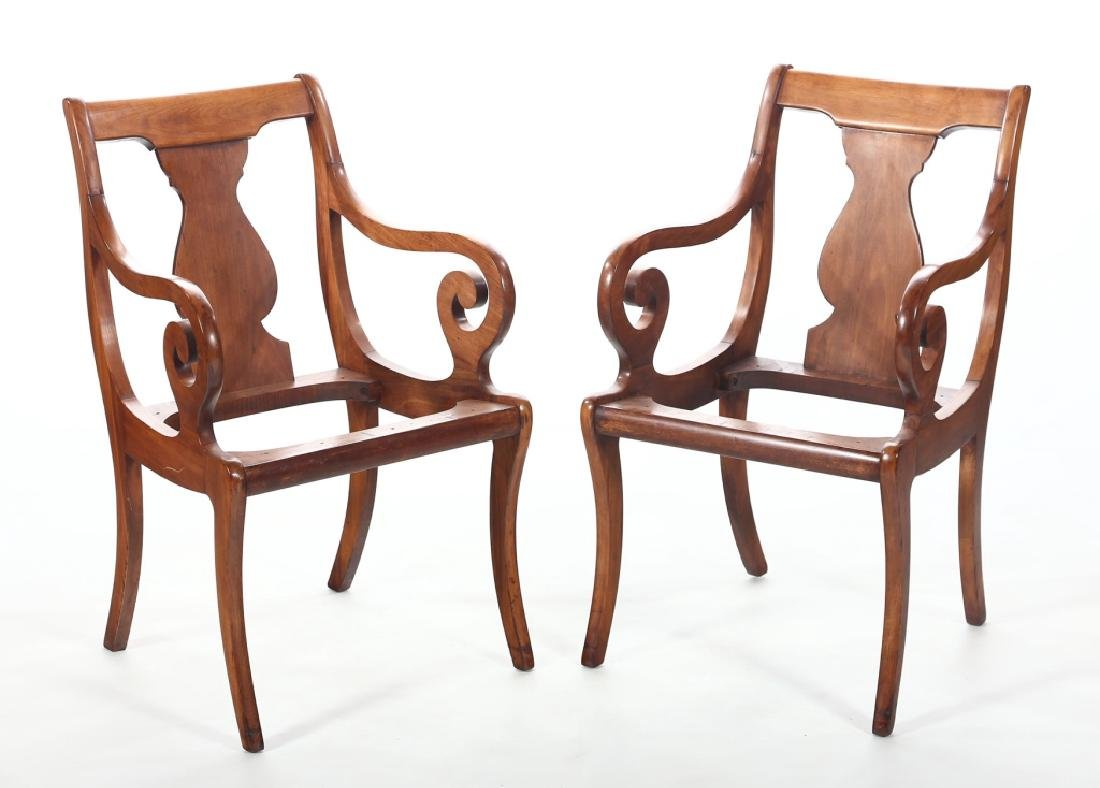 Pair Classical Mahogany Arm Chairs