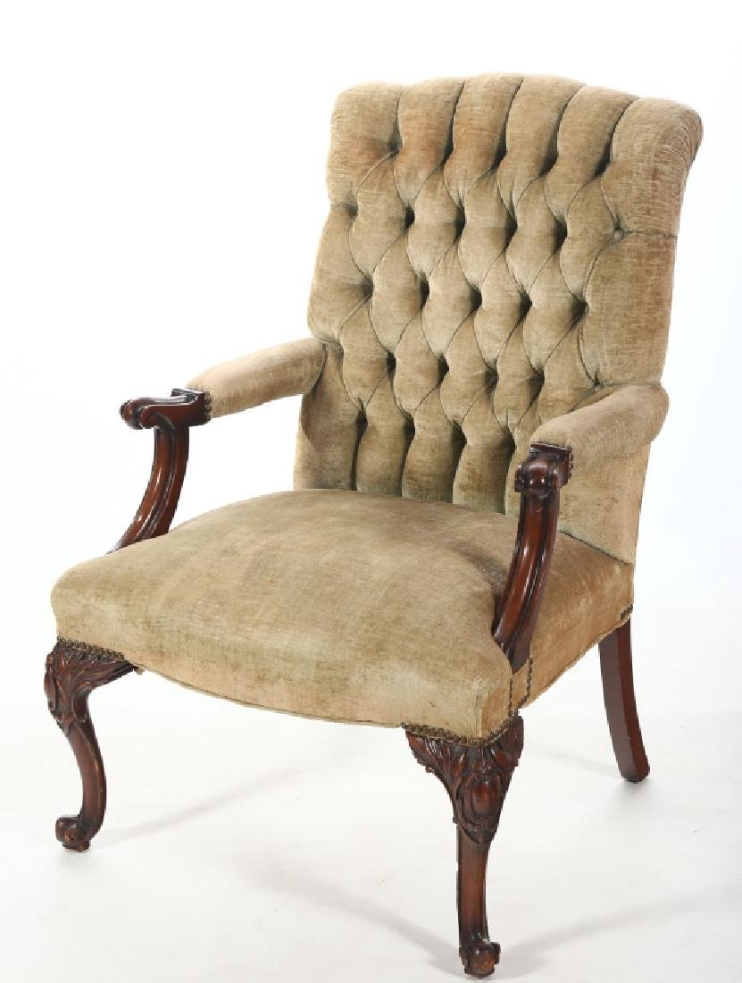 Handsome French Carved & Upholstered Arm Chair