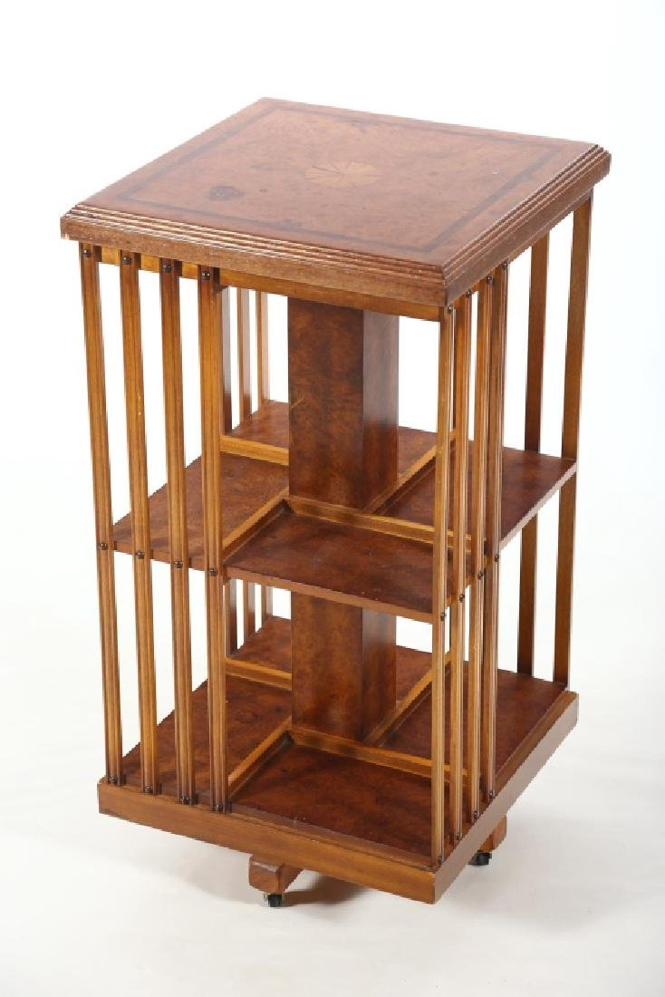 British Edwardian Inlaid Walnut Rotating Bookshelf