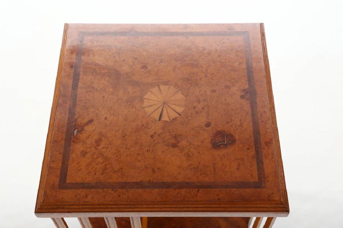 British Edwardian Inlaid Walnut Rotating Bookshelf - 2