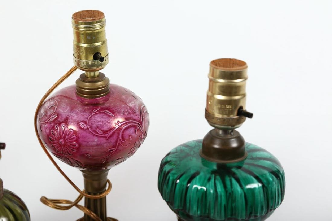 Collection Seven Blown Glass Oil Lamps - 3