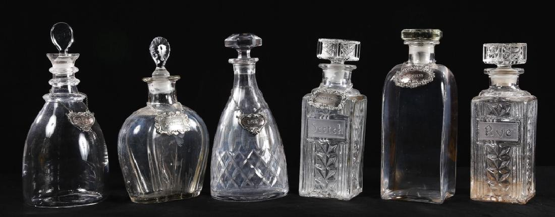 Collection Vintage Silver-Labeled Glass Decanters