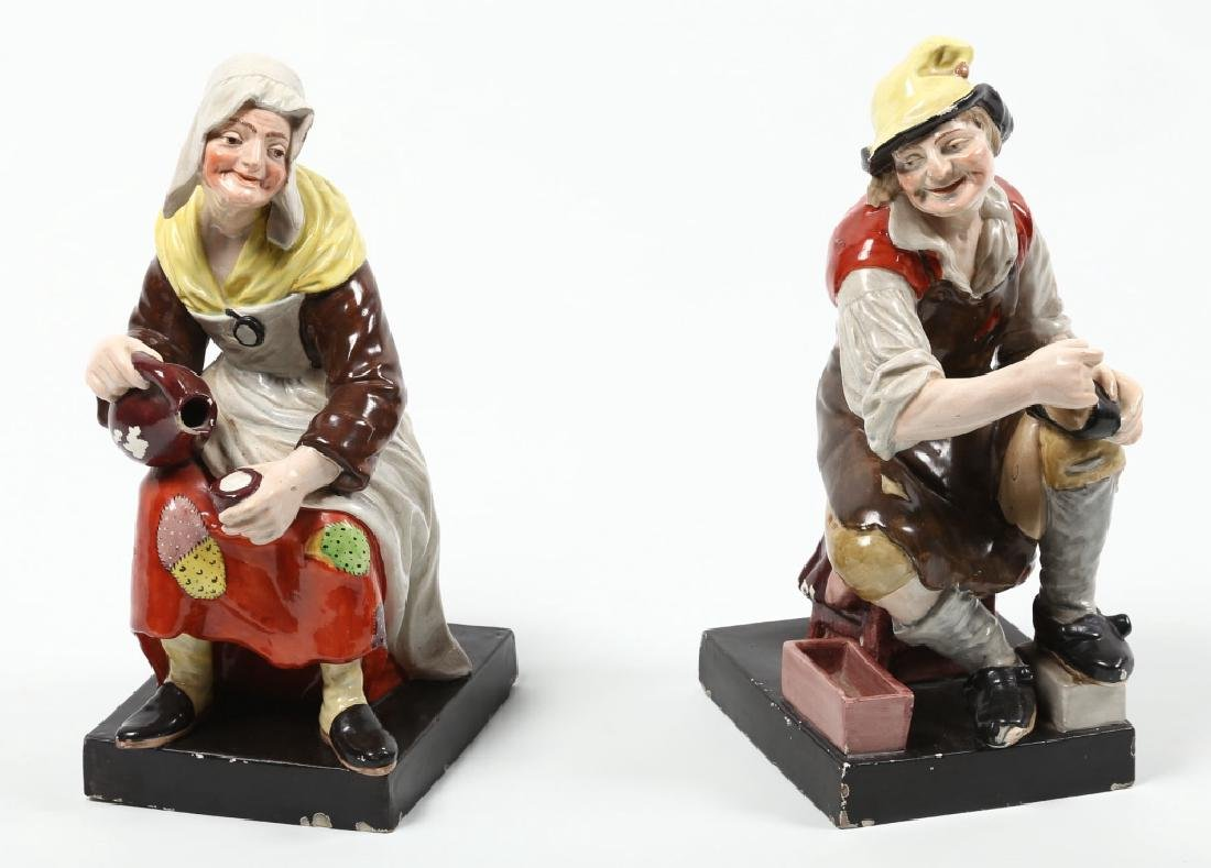 Charming Pair Antique British Pottery Figures