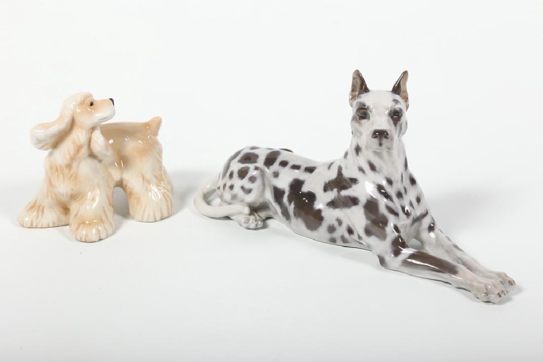 Two Royal Copenhagen Porcelain Dogs