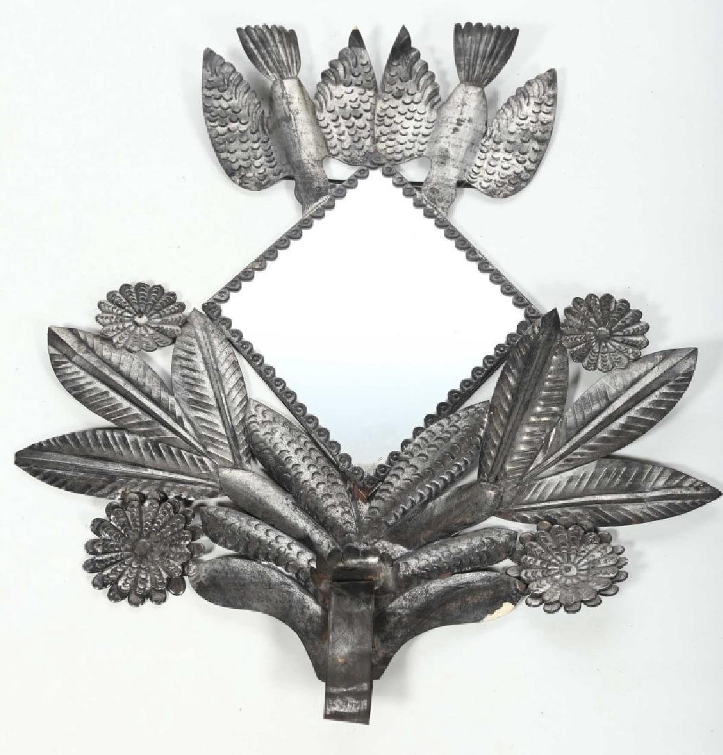 Interesting Folk Art Metal Mirror
